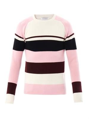 Striped raglan-knit cashmere sweater
