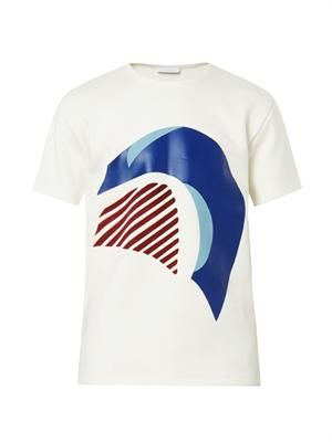 Wave printed and flocked T-shirt
