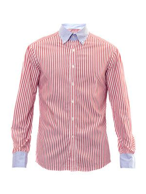 Stripe contrast collar shirt