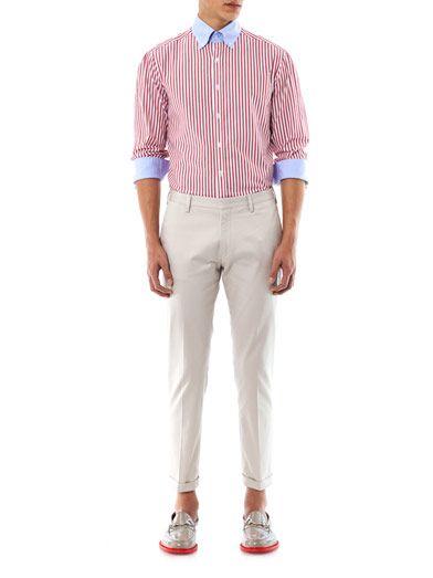 Michael Bastian Stripe contrast collar shirt