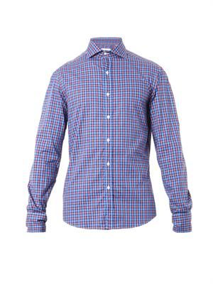 Check-print cotton shirt