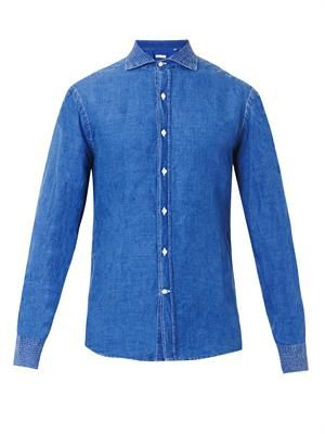 Linen and cotton-blend denim shirt