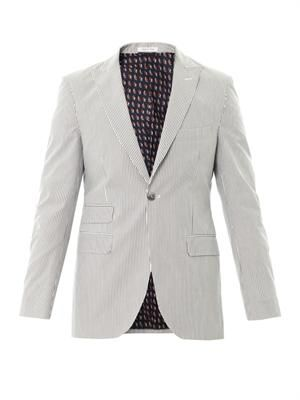 Striped one-button cotton blazer