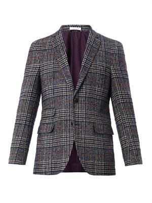 Check cotton-blend blazer