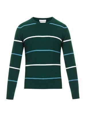 Striped waffle-knit cashmere sweater