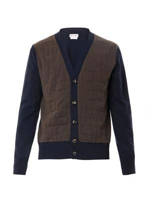 Crocodile-effect wool-blend cardigan