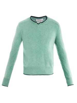 Broken-crew cashmere sweater