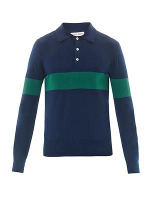 Fine-knit polo top