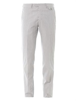 Striped flat-front trousers