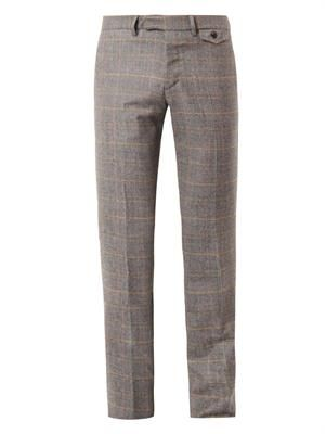 Glen plaid-check wool trousers
