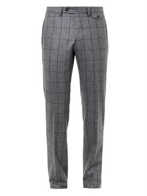 Windowpane-check wool trousers