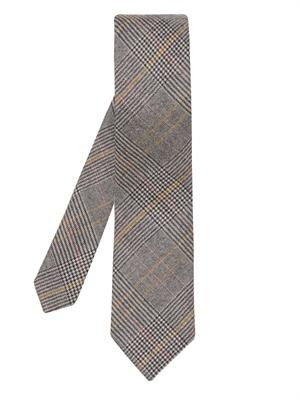Glen plaid-check wool tie