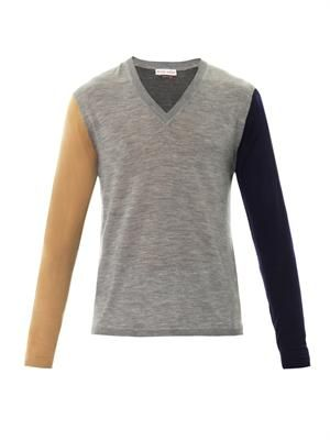Colour-block fine-knit sweater