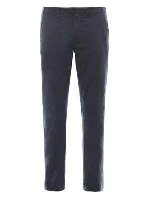 Flat-front cotton chinos