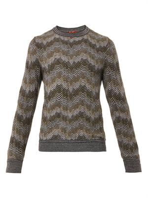 Chevron-knit wool-blend sweater