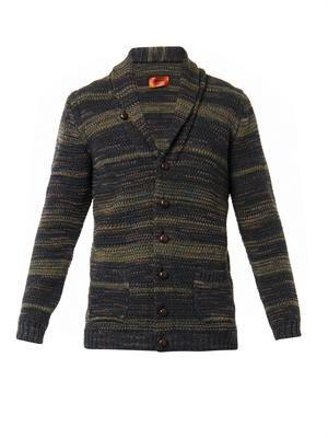 Shawl-neck stripe-knit cardigan