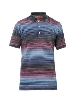 Striped cotton polo top