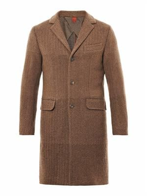 Single-breasted degradé knit coat