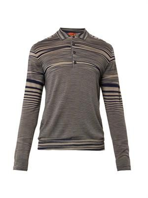Multi-stripe wool polo shirt
