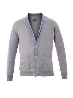 Bi-colour cotton cashmere-blend cardigan