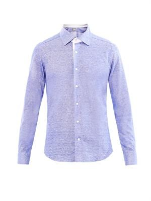 Cotton-linen contrast-placket shirt