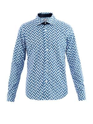 Geometric-print cotton shirt