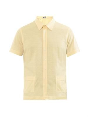 Short-sleeved cotton-linen shirt