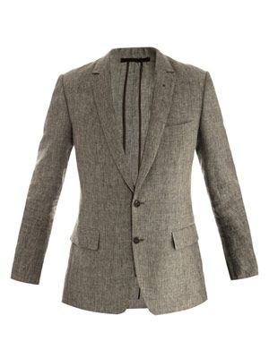 Glen plaid single-breasted jacket