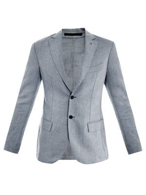 Suede collar single-breasted blazer