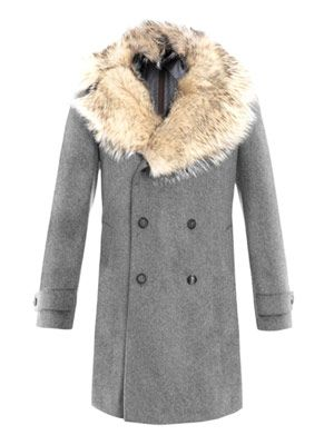 Double breasted badger-fur coat