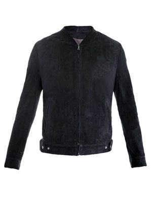 Perforated-suede bomber jacket