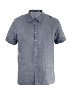 Dogtooth cotton-linen shirt