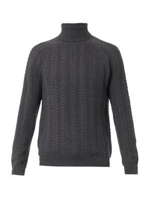 Cable-knit roll-neck sweater