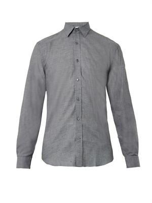 Point-collar checked shirt