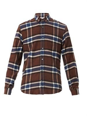 Checked wool-flannel shirt