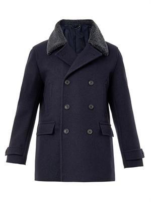 Shearling-collar wool pea coat