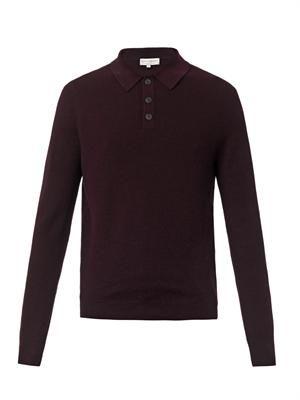 Waffle-knit wool polo shirt