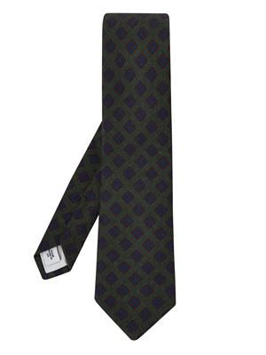 Medallion-print wool and silk-blend tie