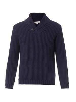 Shawl-neck wool sweater