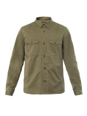Military cotton-canvas shirt