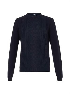 Cable-knit crew-neck sweater