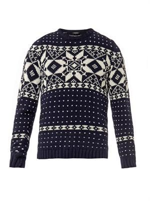 Snowflake-intarsia sweater