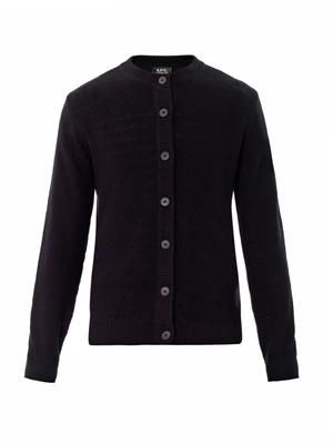 Navy crew-neck cardigan