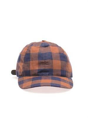Checked linen hat