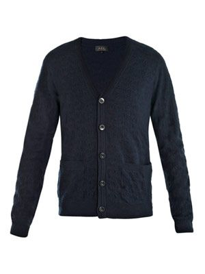 Jacquard knit wool cardigan