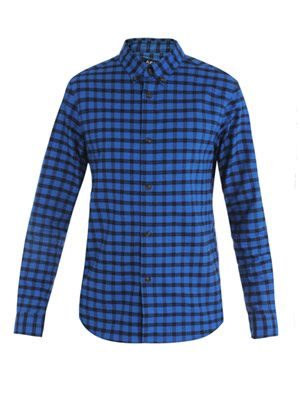 Check-print fleece shirt