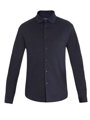 Jersey-collar cotton shirt