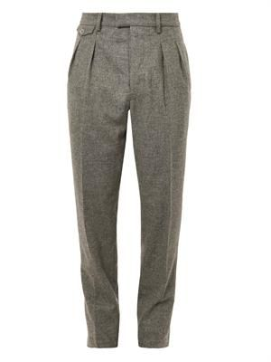 Pleated tweed tailored trousers