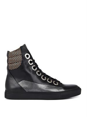 Embossed leather high-top trainers