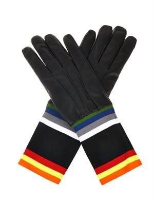 Multicoloured-stripe leather gloves